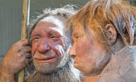 Reconstructions of a Neanderthal man and woman at the Neanderthal museum in Mettmann, Germany.