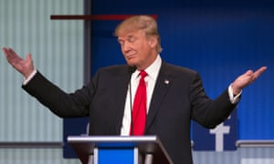 Donald Trump with his arms outstretched during the 2105 Republican primary debate