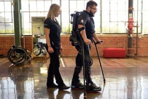Robotic exoskeletons such as this one can help people who have suffered spinal injuries.