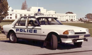 1982 Ford Falcon XE. The Falcon pictured here in front of Parliament House in 1983 was used as an ACT police patrol vehicle.
