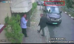 Police CCTV shows Jamal Khashoggi entering the Saudi consulate in Istanbul on 2 October 2018.