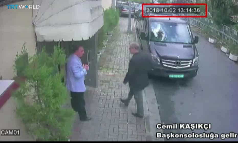 Police CCTV shows Jamal Khashoggi entering the Saudi consulate in Istanbul on 2 October 2018.