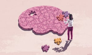 An illustration of a brain as a jigsaw puzzle with a woman standing over it and holding two pieces