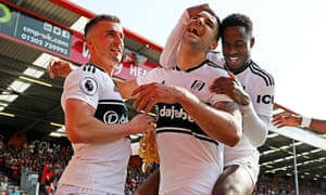 Aleksandar Mitrovic celebrates scoring for Fulham against Bournemouth.