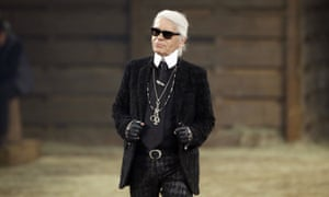 Karl Lagerfeld at his Metiers d'Art fashion show in Dallas in 2013.
