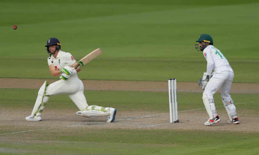 Jos Buttler, who has been roundly condemned for his keeping in this match, plays a shot through the leg-side during his innings of 75.