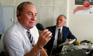 Jack Bannister, right, with Ray Illingworth in the BBC commentary box at Lord's in 1991.