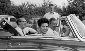 Britten (at wheel of car) with Peter Pears (standing), Galina Vishnevskaya and her husband Mstislav Rostropovich at the Aldeburgh festival