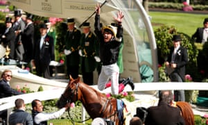 Frankie Dettori executes his trademark flying dismount after winning the Gold Cup on Stradivarius.