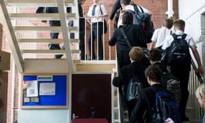 Children at Maidstone grammar school in Kent.
