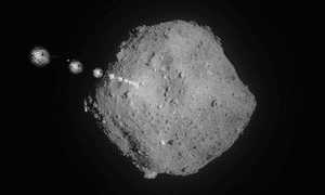 A time-lapse photograph of a target marker heading to the surface of asteroid Ryugu