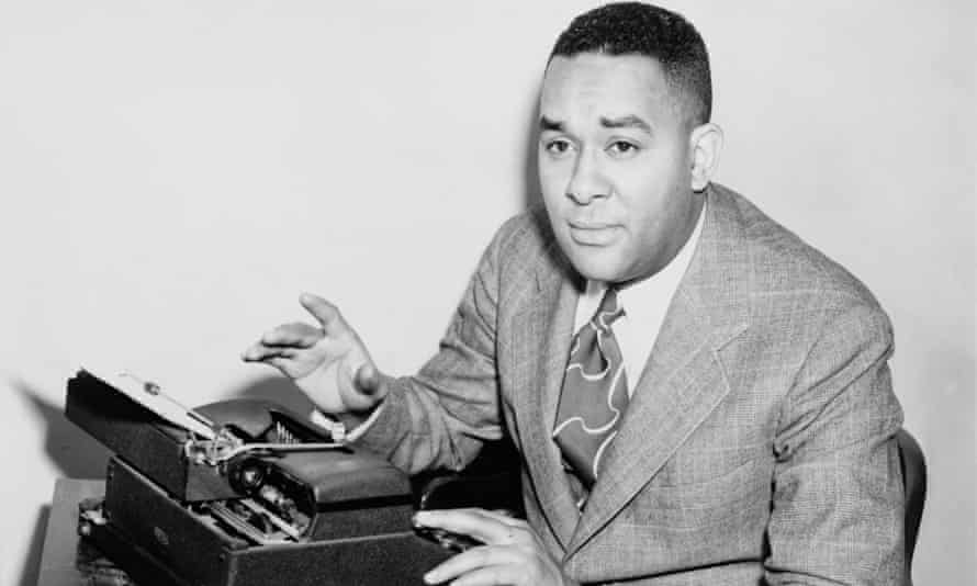 Richard Wright, seated at typewriter in 1945, the year he published his autobiography, Black Boy.