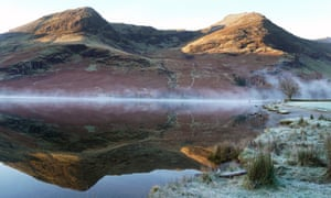 Mist over Buttermere lake in the Lake District