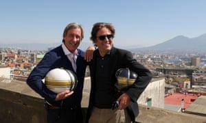 Giorgio (right) filming Italy Unpacked in 2014 with Andrew Graham-Dixon.