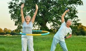 Older people exercising.