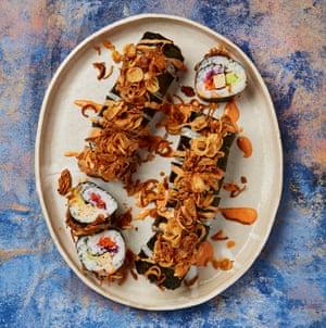 Meera Sodha's tiger roll maki sushi.