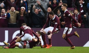 Jamie Brandon, David Milinkovic, Kyle Lafferty and Harry Cochrane celebrate during the Scottish Premiership match against Celtic.