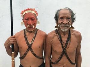 Matis elders gather in the Amazon town of Atalaia do Norte.