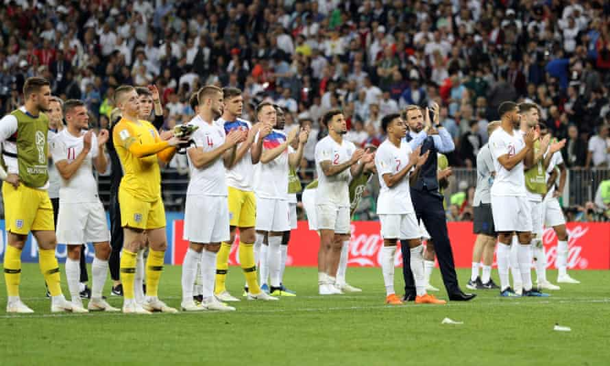 Gareth Southgate and England players cheer on England fans after losing to Croatia in 2018 World Cup semi-final
