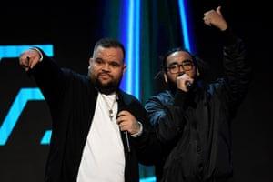 Briggs and Trials of AB Original accept an Aria award for their debut album, Reclaim Australia