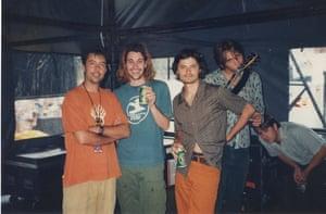 Producer Tim Whitten and Powderfinger in 1997.