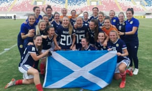 The Scottish Women's National Team celebrate after their 2-0 win over Albania which meant they qualified for the 2019 Women's World Cup.