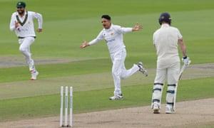Pakistan's Mohammad Abbas celebrates taking the wicket of England's Ben Stokes.