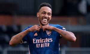 Pierre-Emerick Aubameyang celebrates after scoring for Arsenal at Fulham last Saturday.