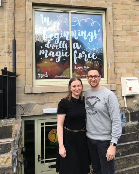 James and Louise outside Read. bookshop in Holmfirth.