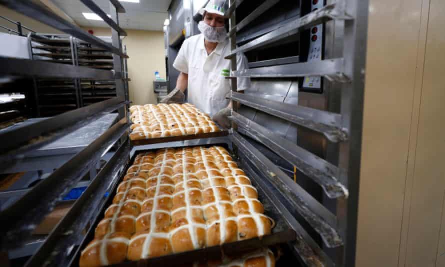 An Asda employee in the supermarket bakery.
