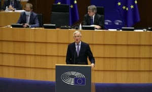 Michel Barnier speaking to MEPs this morning.