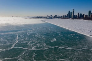 A view above the frozen Lake Michigan