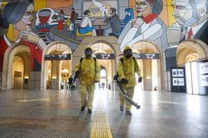 Moscow, Russia Staff disinfect Leningradsky Railway Station amid the Covid pandemic