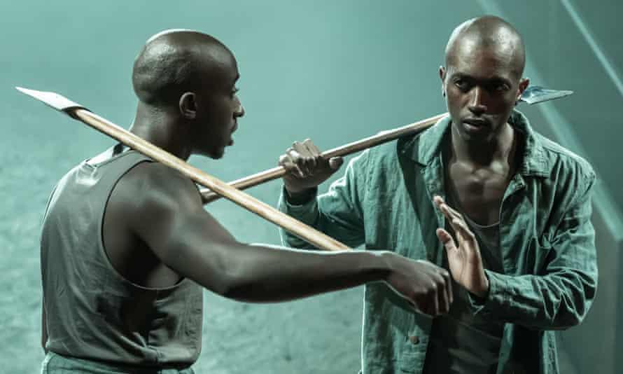 Intense machismo … Roger Jean Nsengiyumva, left, and Faaiz Mbelizi in Blood Wedding.