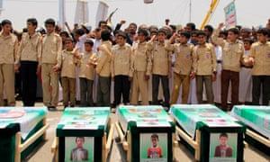 A funeral for children killed in Yemen