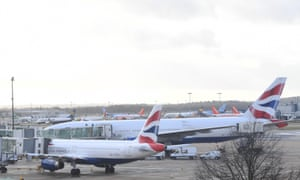 Planes are grounded on Gatwick airport in Sussex