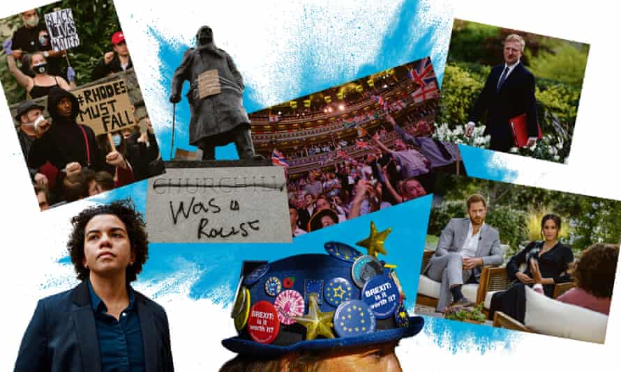 Flashpoints in the culture wars: (clockwise from left) Keira Bell, Rhodes Must Fall, Churchill's statue, Last Night of the Proms, Oliver Dowden, Harry and Meghan's Oprah interview and, last but not least, Brexit.