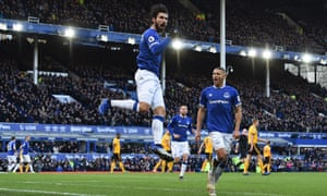 André Gomes, celebrating scoring against Wolves in Ferbuary, was on loan at Everton last season.