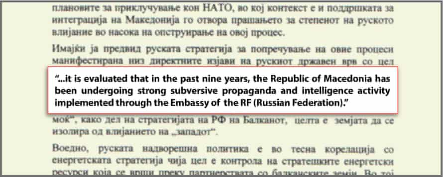 Screengrab of a briefing prepared for the director of Macedonia's intelligence agency, the UBK