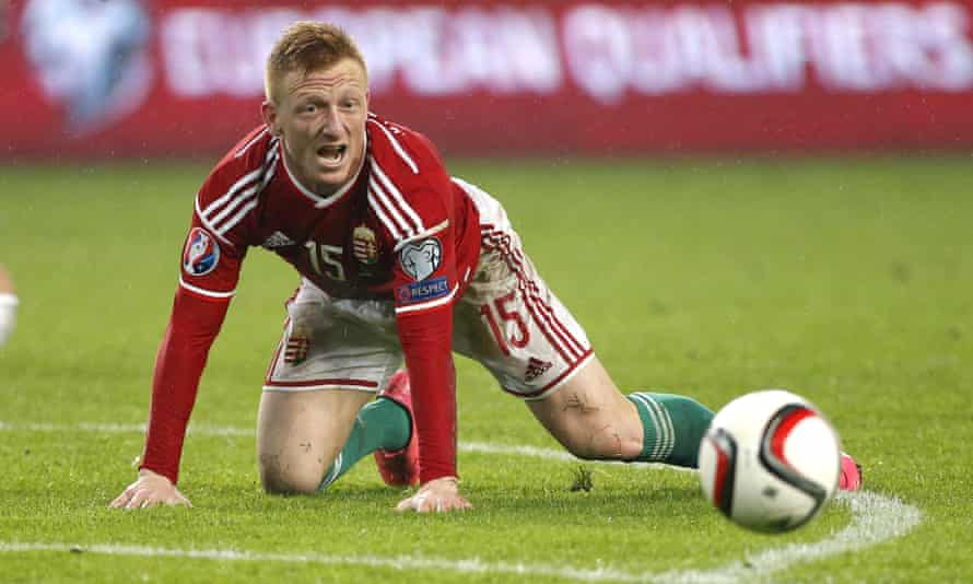 Laszlo Kleinheisler of Hungary in action during the Euro 2016 qualifier play-off second leg match between Hungary and Norway.