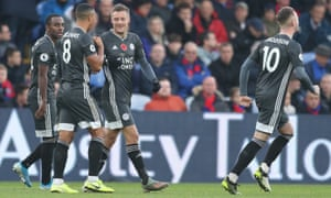 Jamie Vardy of Leicester City celebrates after scoring his sides second goal.