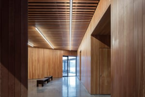 A warm timber world within … inside the museum.