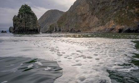 Foam in the sea off the Khalaktyr beach on the Kamchatka peninsula.