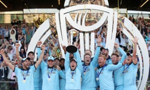 England's Eoin Morgan and teammates celebrate winning the World Cup.