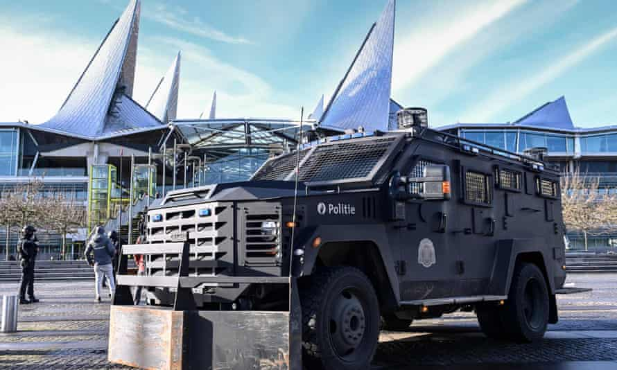 A Belgium armed police vehicle is stationed outside Antwerp criminal court where Assadollah Assadi was sentenced
