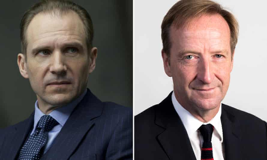Ralph Fiennes as 'M' (left) and the real MI6 chief, known as 'C', Alex Younger.