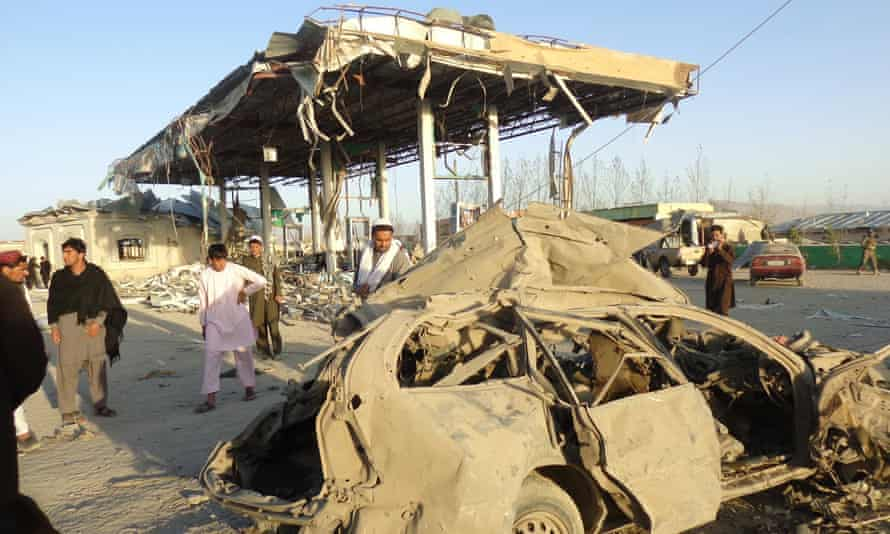 The aftermath of a suicide bomb attack on a police post in Paktia, Afghanistan.