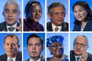 Candidates for the role of WTO director general, from top left, clockwise: Abdel Hamid Mamdouh of Egypt; Amina Mohamed of Kenya; Mohammad Maziad Al-Tuwaijri of Saudi Arabia; Yoo Myung-hee of Korea; Jesus Seade Kuri of Mexico; Ngozi Okonjo-Iweala of Nigeria; Tudor Ulianovschi of Moldova; Liam Fox of the United Kingdom.
