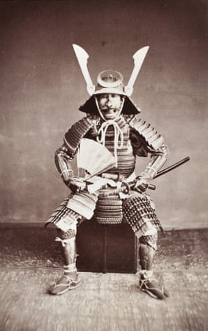 Portrait of a samurai commander, c 1870 Albumen print from wet collodion negative on carte de visite mount. Little is known about this striking image of a samurai commander but the horns and crescent moon on his helmet suggest a senior ranking samurai