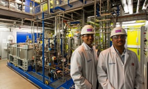 Aniruddha Sharma, left, chief executive of Carbon Clean Solutions and Prateek Bumb, chief technology officer, at the CO2 capture plant in Imperial College, London.